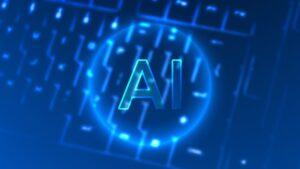 Neon AI on a keyboard
